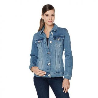 DG2 by Diane Gilman Superstretch Jewel Button Denim Jacket   7848878