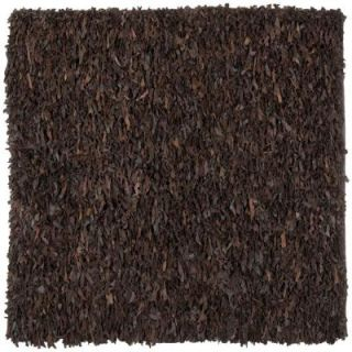 Safavieh Leather Shag Dark Brown 6 ft. x 6 ft. Square Area Rug LSG421D 6SQ