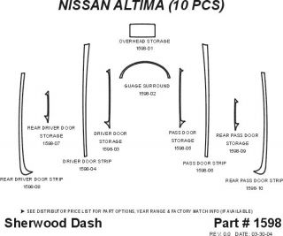 2005, 2006 Nissan Altima Wood Dash Kits   Sherwood Innovations 1598 N50   Sherwood Innovations Dash Kits