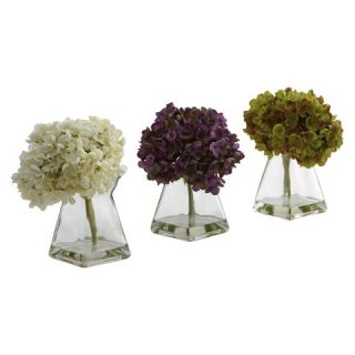 Nearly Natural Hydrangea w/Vase (Set of 3)