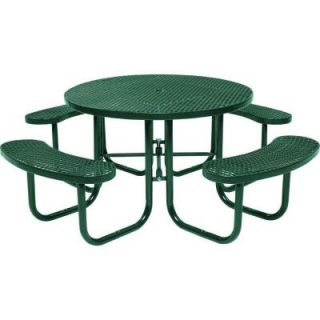 Tradewinds Park 46 in. Green Commercial Round Picnic Table HD D051GS GR
