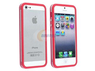 Insten Clear / Red Aluminum Button Bumper Case Cover + Reusable Anti Glare Screen Cover Compatible With Apple iPhone 5