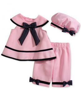 Rare Editions Baby Girls 3 Piece Pink Dress, Capri & Hat Set   Kids