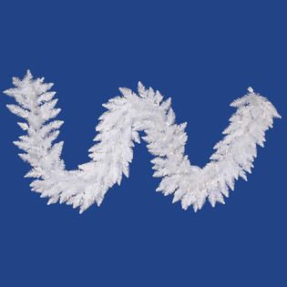 Vickerman 9 Sparkle White Spruce Garland with 100 Pure White LED