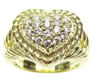 Judith Ripka Diamonique Pave Heart Ring, 14K Clad Sterling —