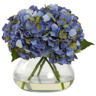 Large Blooming Hydrangea w/Vase   Home   Home Decor   Decorative
