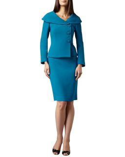 Tahari Portrait Collar Three Button Skirt Suit