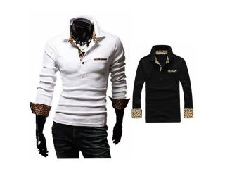 Mens Casual T shirts Stand Collar Botton Leopard Long sleeve Polo Shirt 2Colors White L