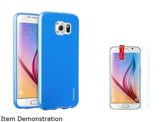 Insten Blue TPU Rubber Gel Case + Clear Screen Protector For Samsung Galaxy S6 2076543