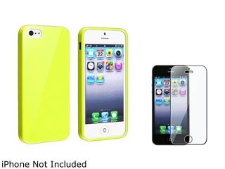 Insten Yellow Jelly TPU Rubber Case Cover + Clear Screen Cover Compatible With Apple iPhone 5 / 5s 814772