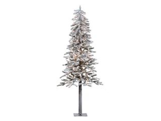 6' Pre Lit Flocked Alpine Christmas Tree   Clear Lights