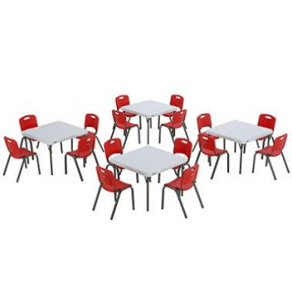 Lifetime Childrens Combo Four 29 Commercial Grade Tables and 16 Stack Chairs, Fire Red