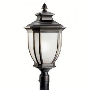 Kichler 9940RZ Outdoor Light, Transitional Post Mount 1 Light Fixture   Rubbed Bronze