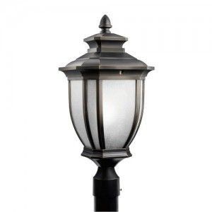 Kichler 9938RZ Outdoor Light, Transitional Post Mount 1 Light Fixture   Rubbed Bronze