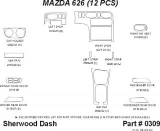 1996, 1997 Mazda 626 Wood Dash Kits   Sherwood Innovations 0309 CF   Sherwood Innovations Dash Kits