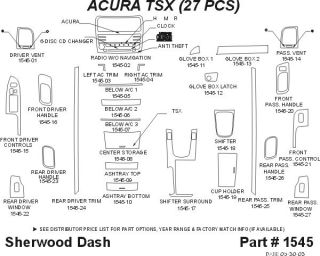 2004 2008 Acura TSX Wood Dash Kits   Sherwood Innovations 1545 N50   Sherwood Innovations Dash Kits