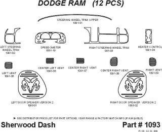 1999, 2000, 2001 Dodge Ram Wood Dash Kits   Sherwood Innovations 1093 CF   Sherwood Innovations Dash Kits