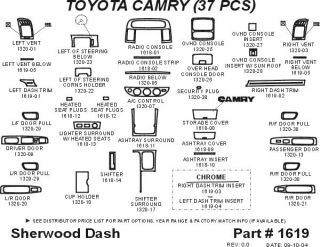 2005, 2006 Toyota Camry Wood Dash Kits   Sherwood Innovations 1619 CF   Sherwood Innovations Dash Kits