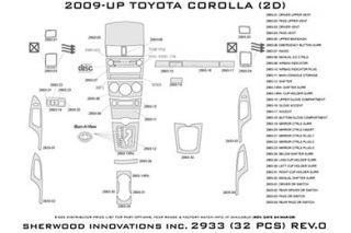 2009, 2010, 2011 Toyota Corolla Wood Dash Kits   Sherwood Innovations 2933 R   Sherwood Innovations Dash Kits