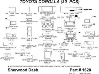 2005 2008 Toyota Corolla Wood Dash Kits   Sherwood Innovations 1620 N50   Sherwood Innovations Dash Kits