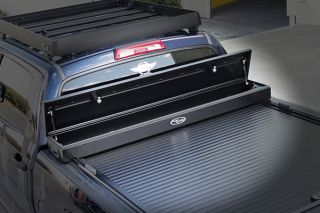2007 2017 Toyota Tundra Toolbox Tonneau Covers   Truck Covers USA CR 403/Bracket SystemJR   Truck Covers USA American Work Jr. Toolbox Tonneau Cover