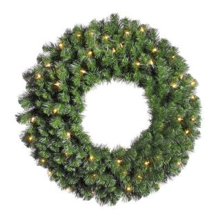 Vickerman 24 in Pre Lit Douglas Fir Artificial Christmas Wreath with White Clear Incandescent Lights