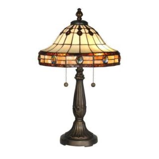 Dale Tiffany 23 in. Jeweled Mission Antique Golden Sand Table Lamp TT10034