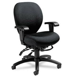 2781 3 T610 Global Furniture Global Furniture 27813T610 Mallorca Mid Back Multi Tilt Chair with Height Adjustable Arms, Midnight Black