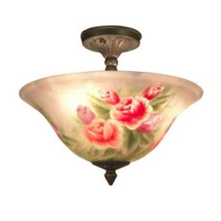 Dale Tiffany Rose 3 Light Antique Brass Semi Flush Mount Light with Art Glass Shade 10084/3LTF