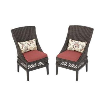 Hampton Bay Woodbury Patio Dining Chair with Chili Cushion (2 Pack) DY9127 D R