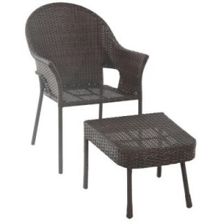 Hampton Bay All Weather Wicker Patio Stack Chair and Ottoman (2 Set) FRS80582ST