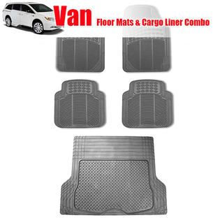 FH Group 5pc Full Set All Weather Heavy Duty Van Floor Mat Trunk Cargo