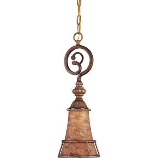 Glomar Marmount Antique Gold 1 Light Mini Pendant With Art Nouveau Glass DISCONTINUED HD 1527