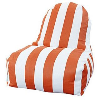 Majestic Home Goods Indoor/Outdoor Vertical Stripe Polyester Kick It Bean Bag Chair, Burnt Orange