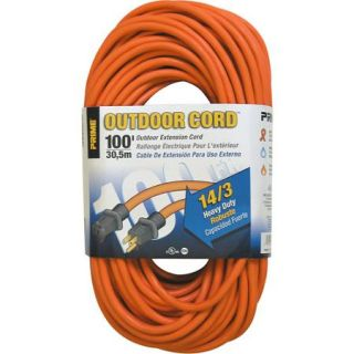 Prime Wire 100 Foot 14/3 SJTW Heavy Duty Outdoor Extension Cord, Orange