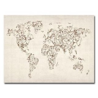 Trademark Fine Art 35 in. x 47 in. World Map   Swirls Canvas Art MT0129 C3547GG