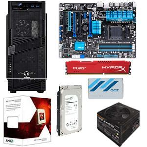 AMD FX 6300 Six Core Processor/Asus M5A99FX PRO R2.0 ATX AM3+ MB/HyperX Fury�8GB (1 x 8GB) DDR3 1866 Memory/OCZ Trion 100 240GB SSD/ Seagate 1TB HD/Thermaltake Commander Case w/600W PSU PC Kit