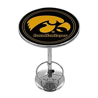 Trademark Global NCAA 28 Solid Wood/Chrome Pub Table, Black, University of Iowa