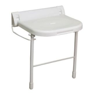 18 in. Wall Mount Folding Shower Seat with Legs in White ISS191
