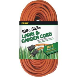 Prime Wire 100 Foot 16/2 SJTW Lawn and Garden Outdoor Extension Cord, Orange