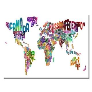 Trademark Fine Art 30 in. x 47 in. Typography World Map III Canvas Art MT0035 C3047GG