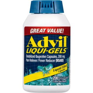 Advil Liqui Gels Pain Reliever / Fever Reducer (Ibuprofen), 200 mg, 200 Liquid Filled Capsules 200 count