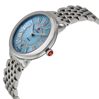 Michele Serein Light Blue Mother of Pearl Dial Stainless Steel Ladies