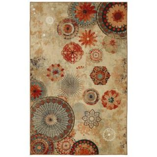 Mohawk Home Alexa Medallion Brown 5 ft. x 8 ft. Indoor/Outdoor Printed Patio Area Rug 379858