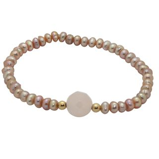 Junior Jewels 14k Gold Pink Pearl and Crystal Baby Bracelet 6 mm