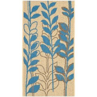 Safavieh Courtyard Natural Brown/Blue 5 ft. 3 in. x 7 ft. 7 in. Indoor/Outdoor Area Rug CY4029B 5