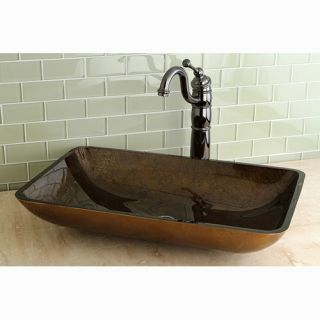 Kingston Brass Fauceture Roma Rectangle Glass Vessel Bathroom Sink