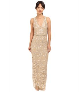 Nicole Miller Embroidered Tulle Gown Gold