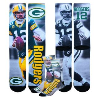 For Bare Feet NFL Sublimated Player Socks   Accessories   Green Bay Packers   Rodgers, Aaron   Multi