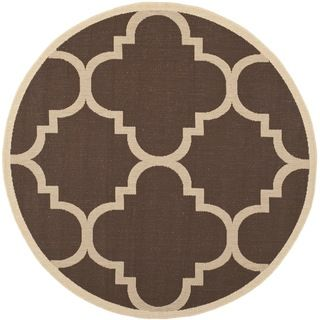 Safavieh Indoor/ Outdoor Courtyard Dark Brown Rug (710 Round